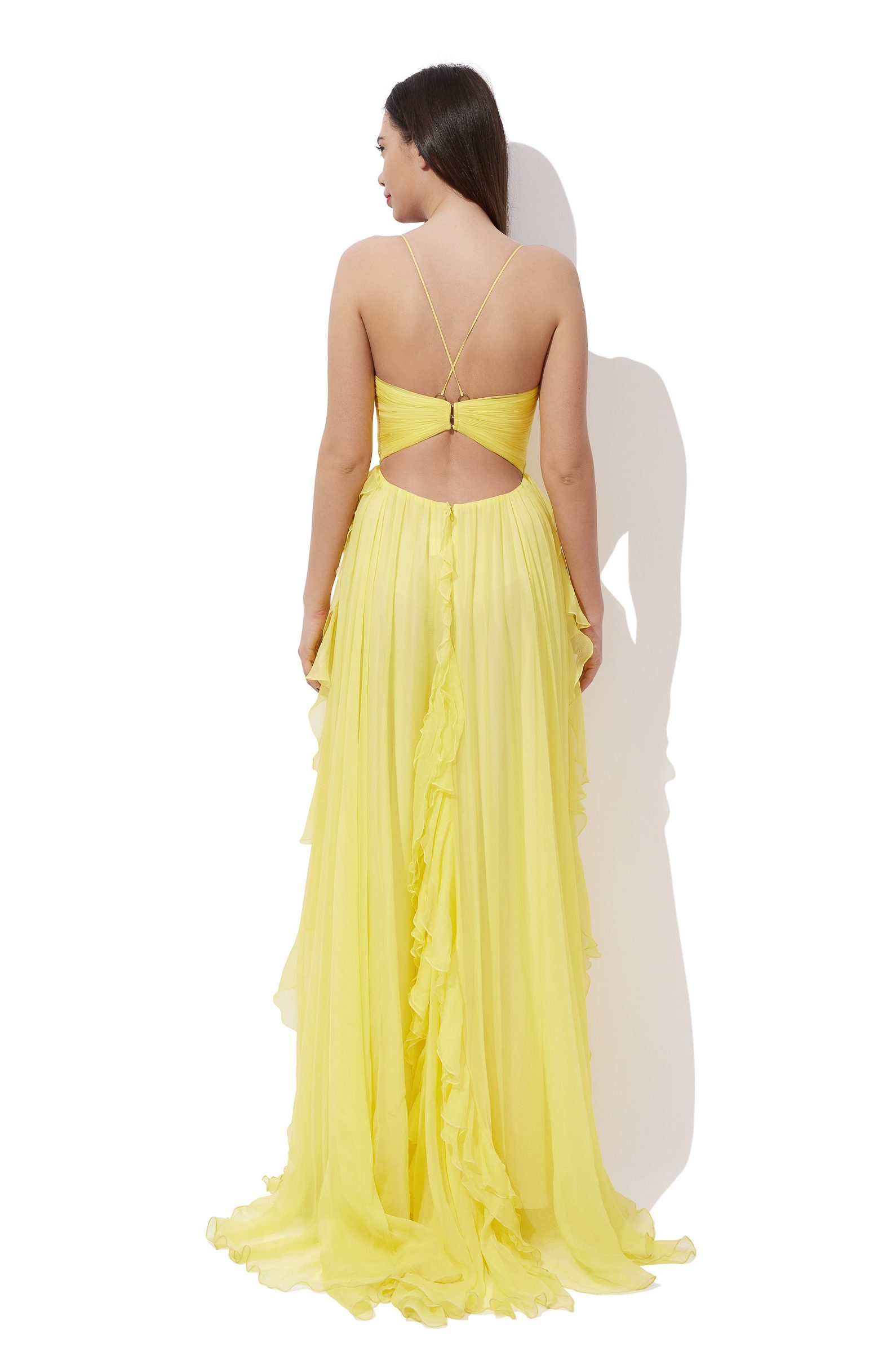 Draped silk corset dress