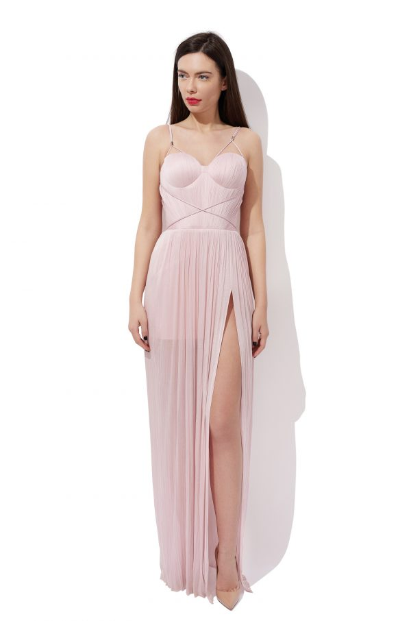 Draped silk evening gown