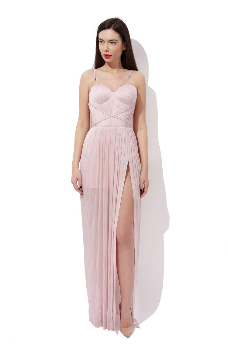 Draped silk evening gown
