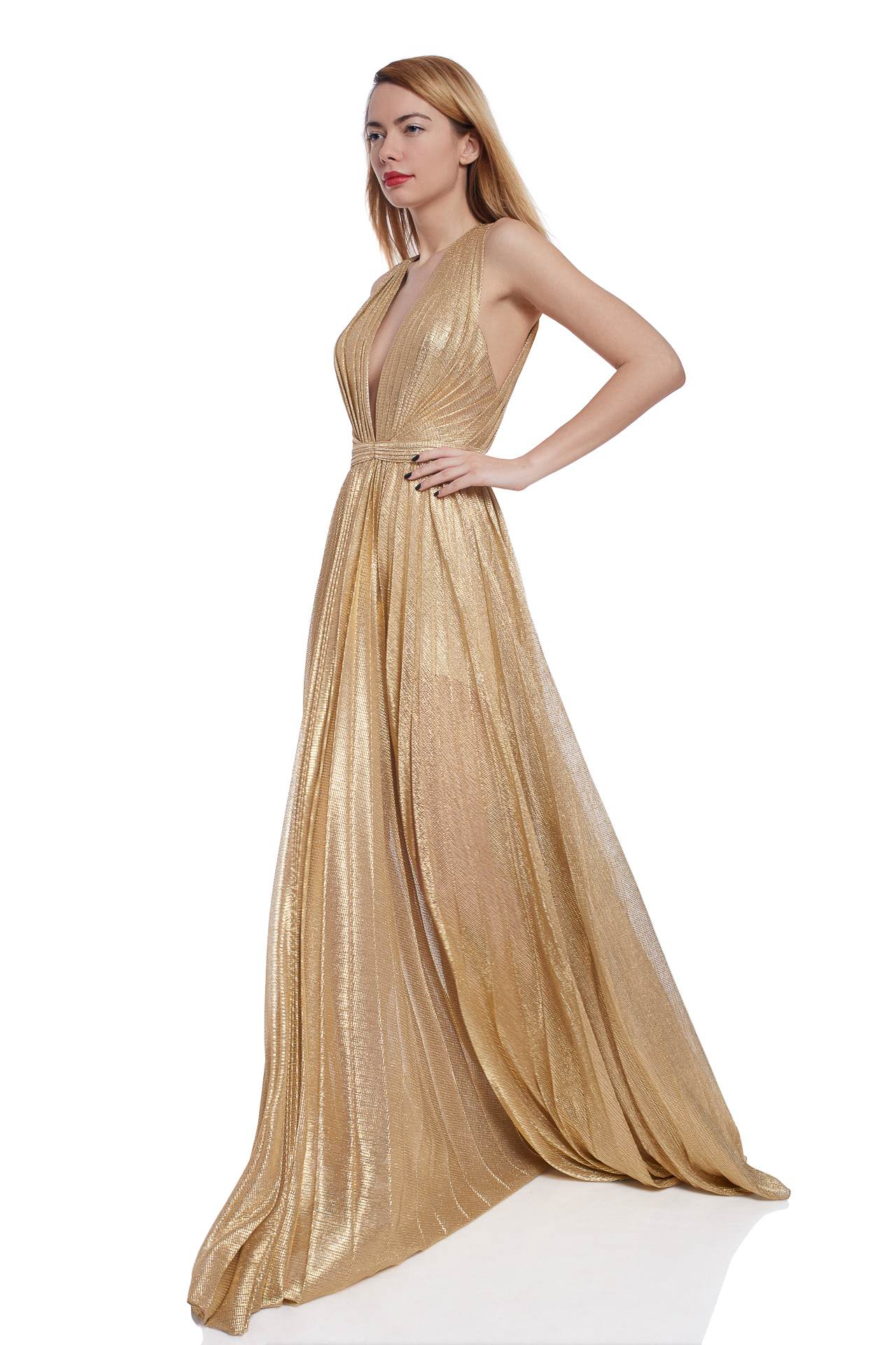 Golden foil evening gown