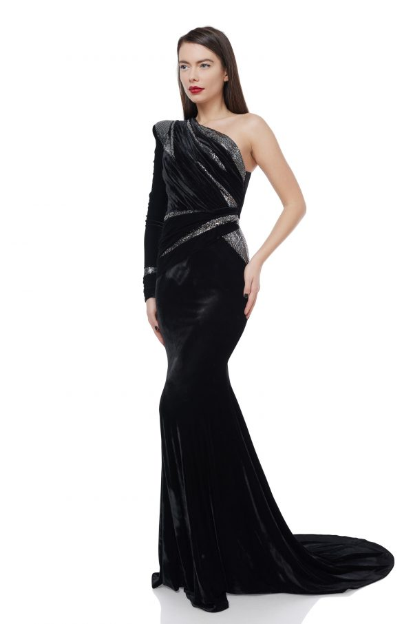 Asymmetrical black velvet gown