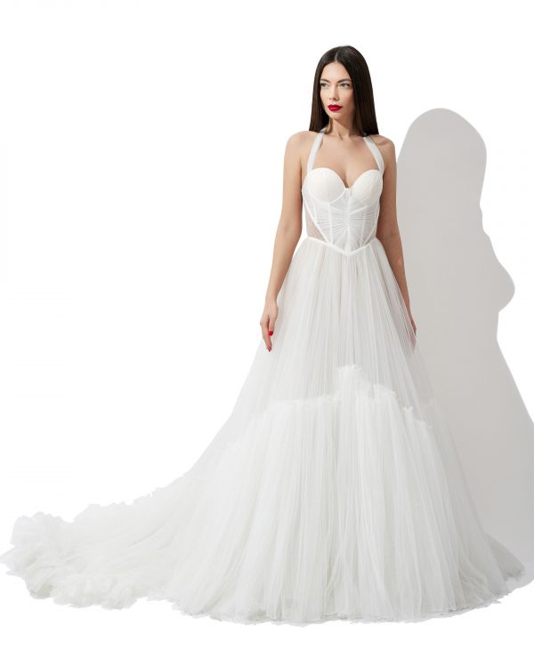 Corset ruffled train bridal