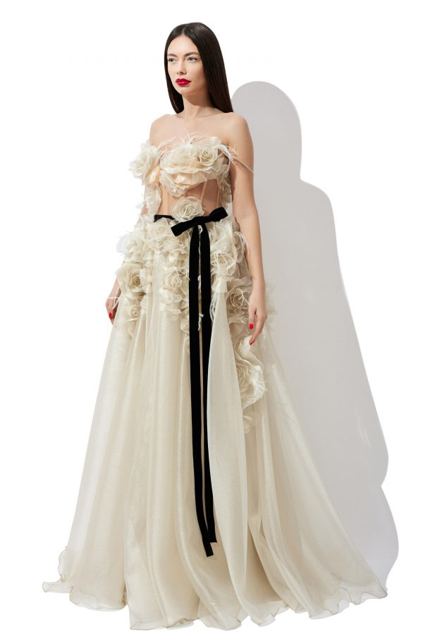 Flowers corset bridal gown