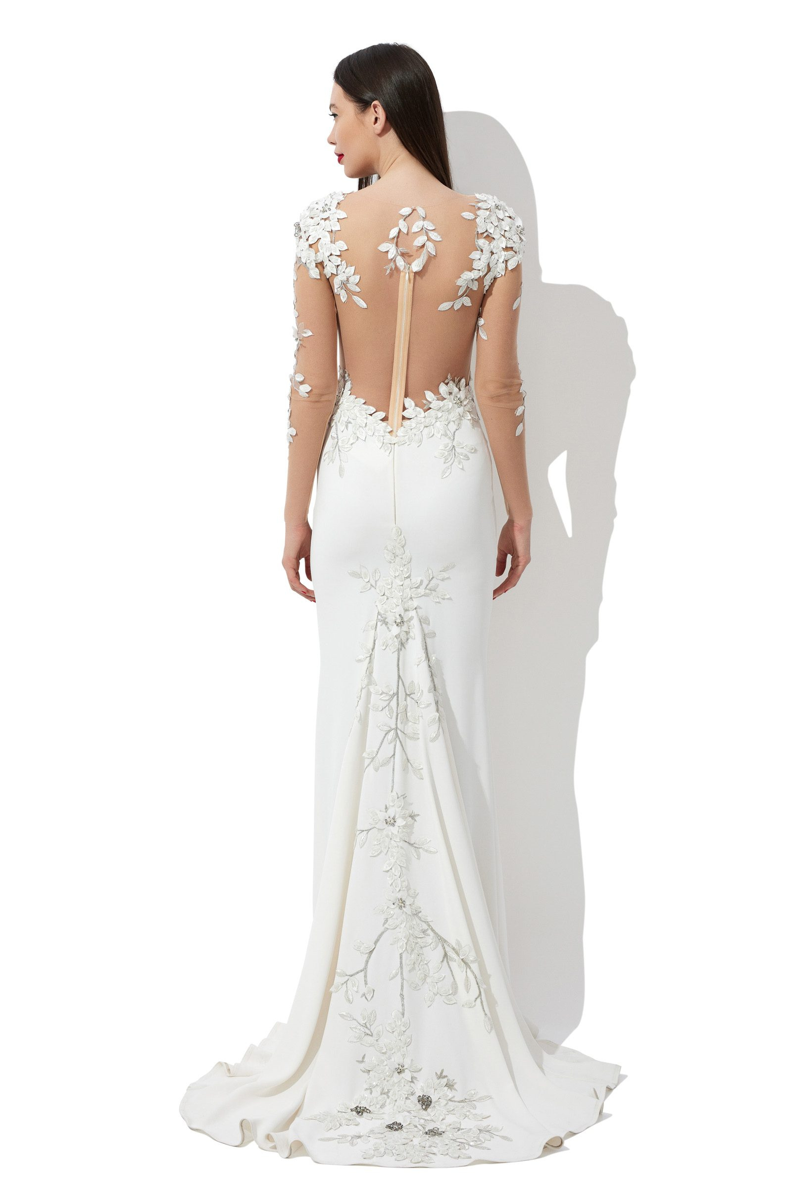 Embroidered mermaid bridal gown