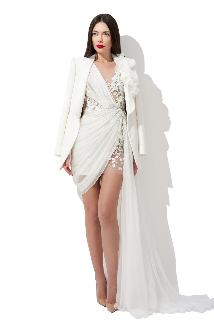 Embroidered bridal gown jacket