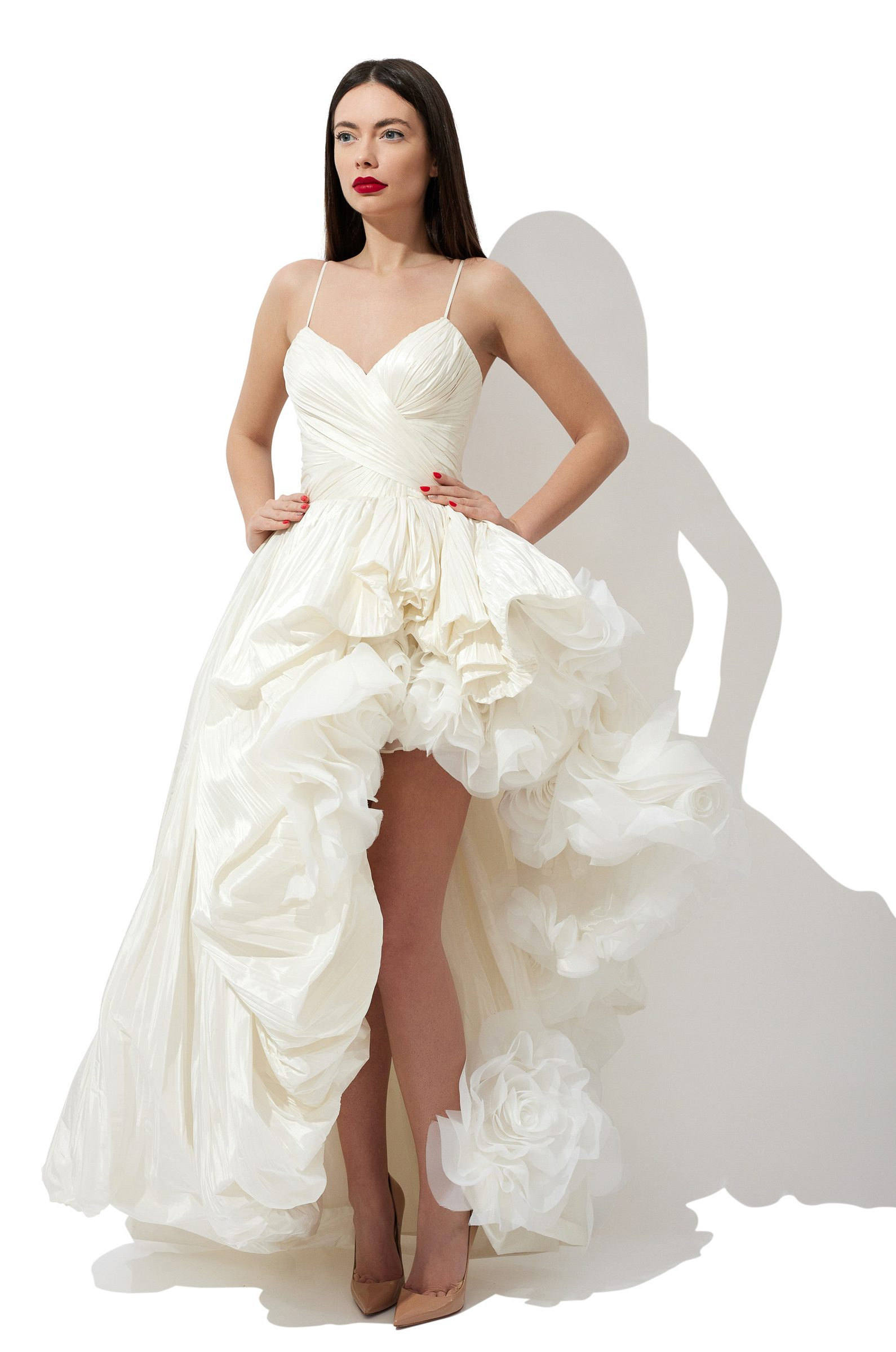 Ruffled flowers bridal gown